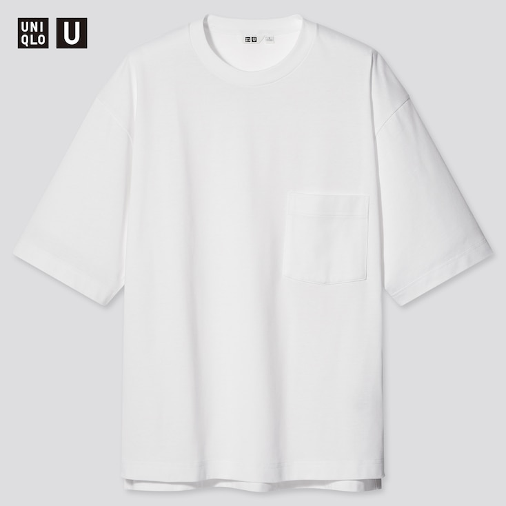 U Oversized Crew Neck Short-Sleeve T-Shirtÿ, White, Large
