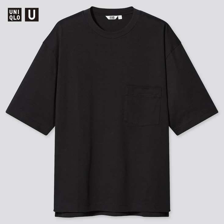 U Oversized Crew Neck Short-Sleeve T-Shirtÿ, Black, Large