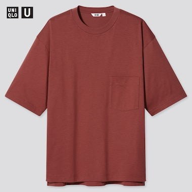 U Oversized Crew Neck Short-Sleeve T-Shirt, Dark Orange, Medium