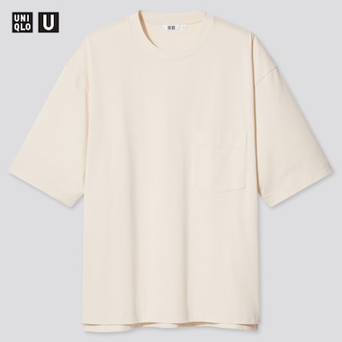 U Oversized Crew Neck Short-Sleeve T-Shirt, Natural, Medium