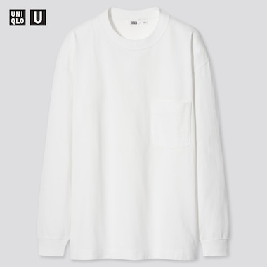 U Crew Neck Long-Sleeve T-Shirt, White, Medium