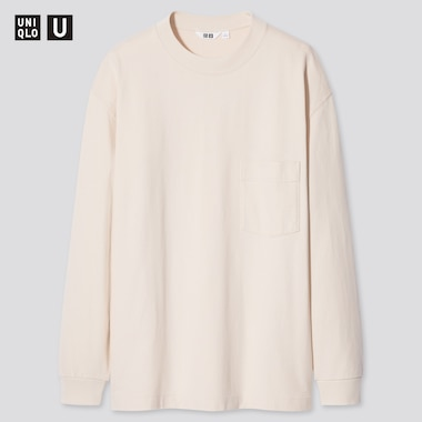 Men U Crew Neck Long-Sleeve T-Shirt, Natural, Medium