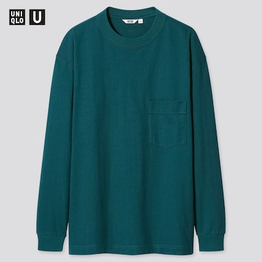 U Crew Neck Long-Sleeve T-Shirt, Dark Green, Medium