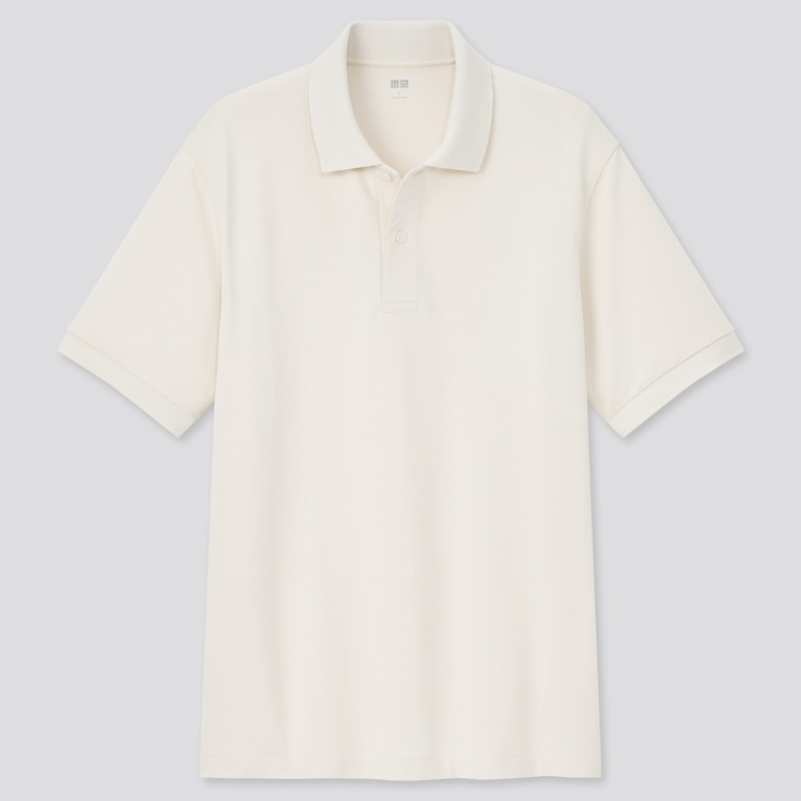 Dry Pique Short-Sleeve Polo Shirt, Natural, Large