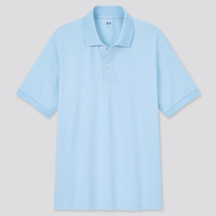 Dry Pique Short-Sleeve Polo Shirt, Light Blue, Large