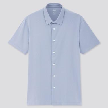 Men Airism Full-Open Polo Shirt, Blue, Medium