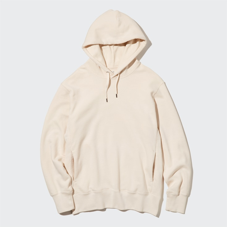 Sweat Pullover Long-Sleeve Hoodie, Natural, Large