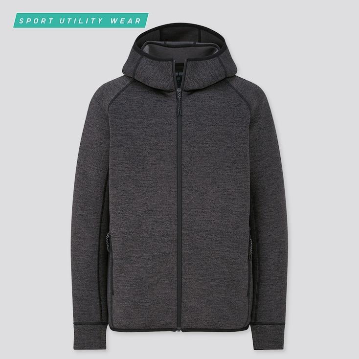 Men Ultra Stretch Dry Sweat Full-Zip Hoodie, Dark Gray, Large