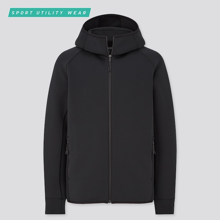 Men Ultra Stretch Dry Sweat Full-Zip Hoodie, Black, Large