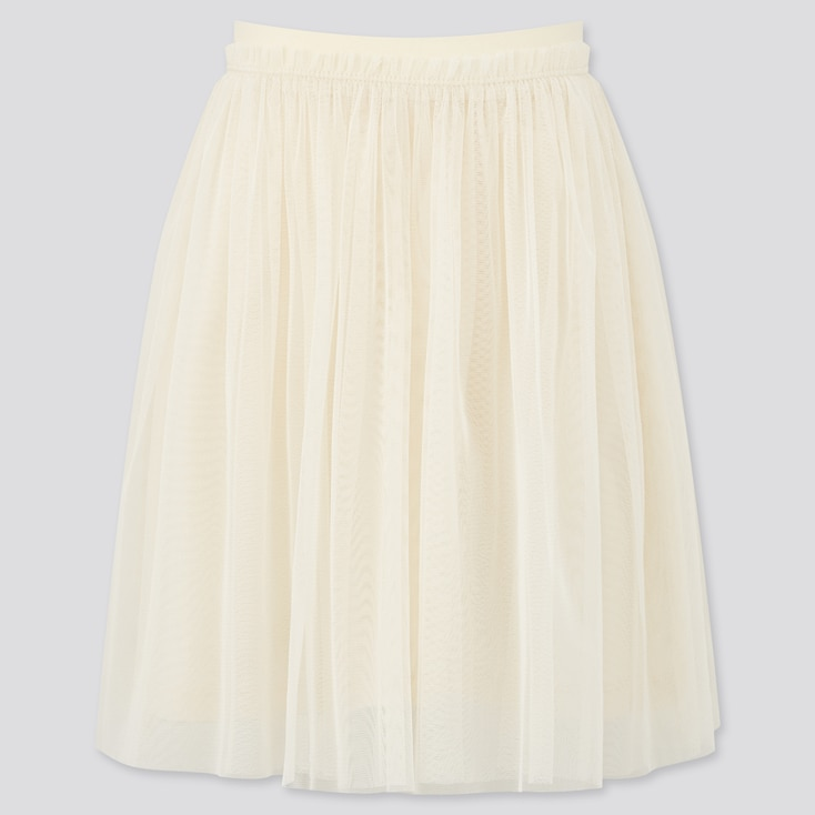 Girls Tulle Skirt, Off White, Large