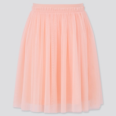 Girls Tulle Skirt, Light Orange, Medium