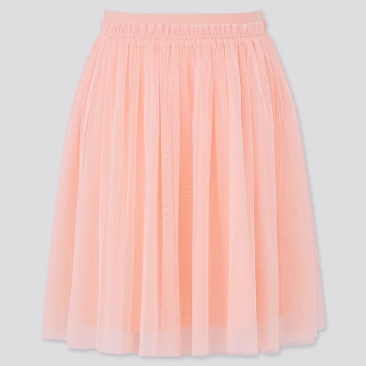 Girls Tulle Skirt, Light Orange, Large