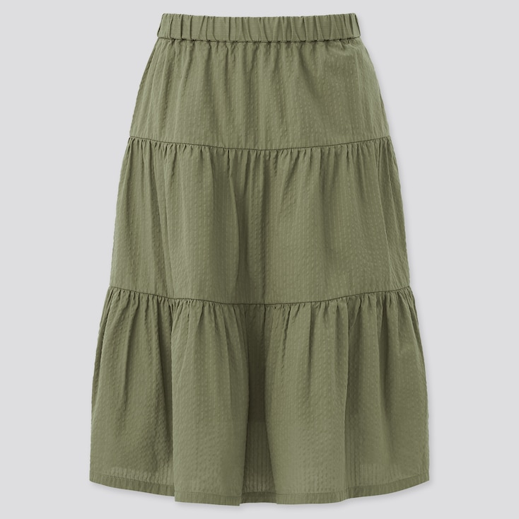 Girls Seersucker Tiered Skirt, Olive, Large