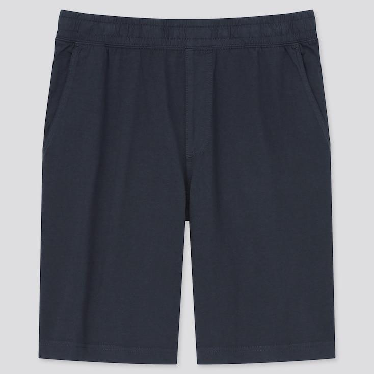 Men Washed Jersey Easy Shorts, Navy, Large