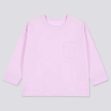 Toddler Airism Cotton Uv Protection Long-Sleeve T-Shirt, Pink, Medium