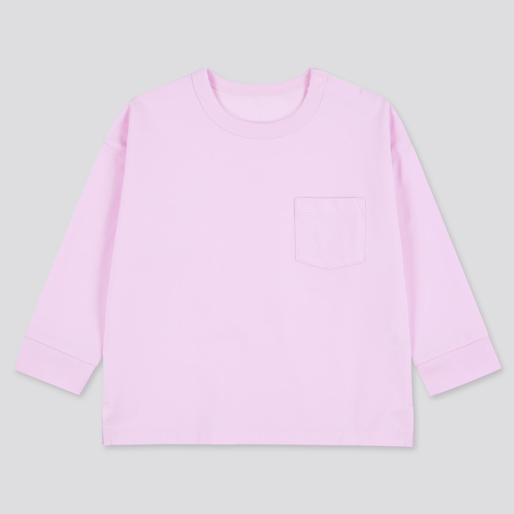 Toddler Airism Cotton Uv Protection Long-Sleeve T-Shirt, Pink, Large