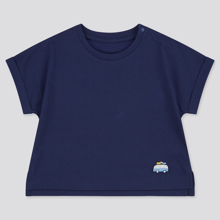Toddler Airism Cotton Short-Sleeve T-Shirt (Online Exclusive), Navy, Large