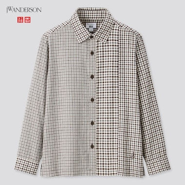Kids Flannel Checked Long-Sleeve Shirt (Jw Anderson), Gray, Medium