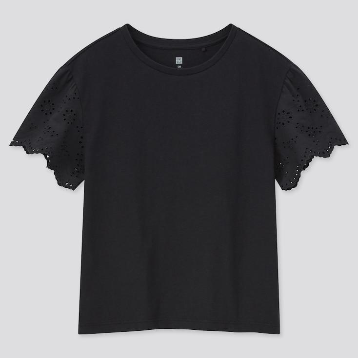 Girls Lace Short-Sleeve T-Shirt, Black, Large