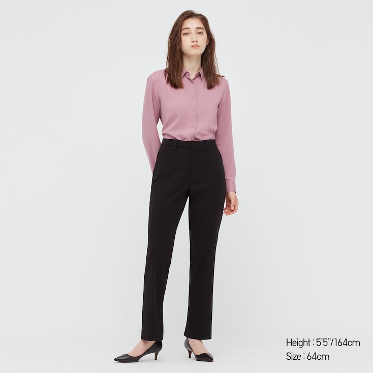 Women Smart 2-Way Stretch Solid Straight Pants, Navy, Large