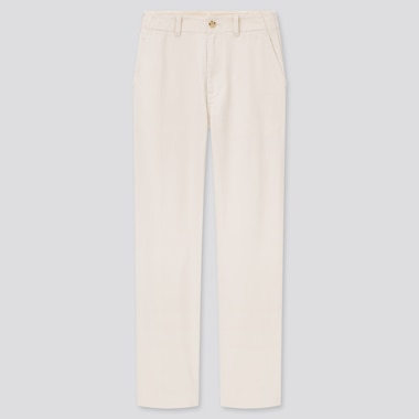 Women High-Waisted Straight Chino Pants (Online Exclusive), Off White, Medium