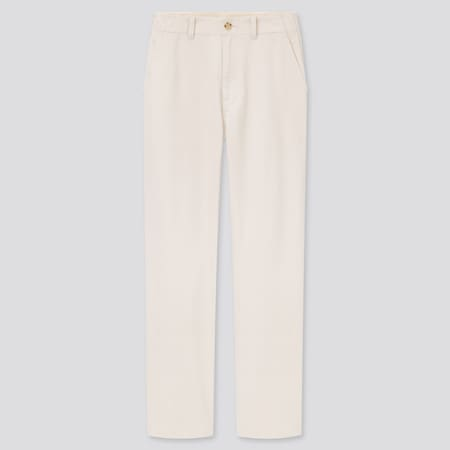 Women High Waisted Straight Fit Chino Trousers
