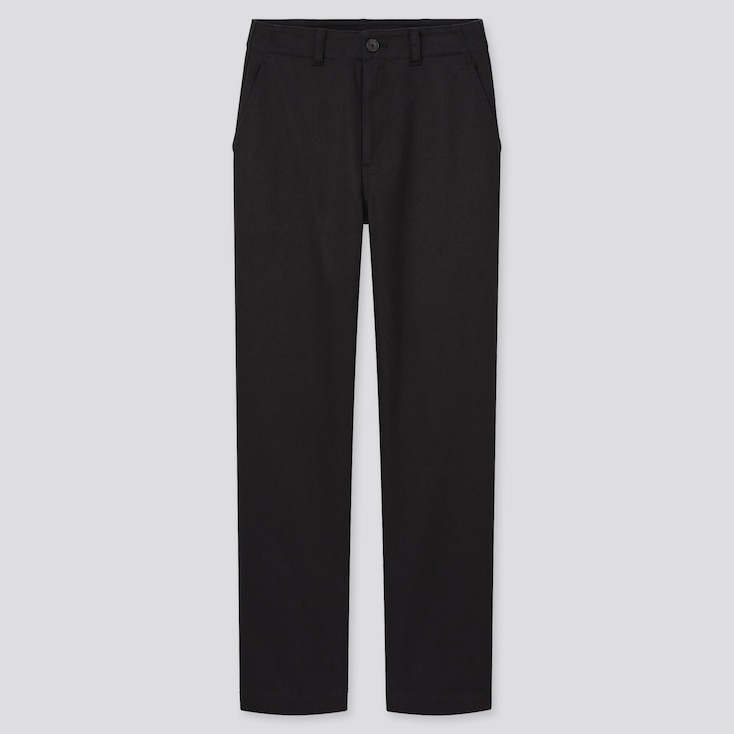 Women High-Waisted Straight Chino Pants (Online Exclusive), Black, Large