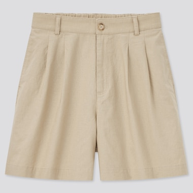 Women Linen Cotton Blend Shorts
