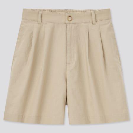 Damen Leinen Baumwoll Shorts