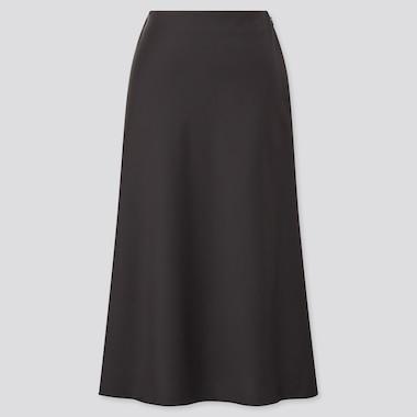 Women Satin Narrow Flare Skirt, Black, Medium