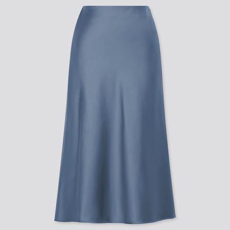 Women Satin Narrow Flared Skirt (Long)