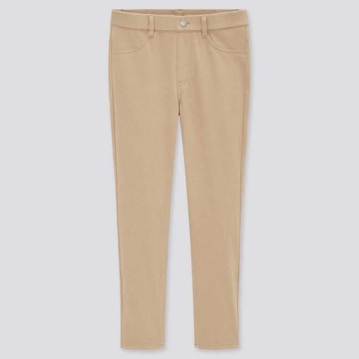 Women Ultra Stretch Cropped Leggings Pants, Beige, Large