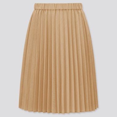 Girls Pleated Skirt, Beige, Medium