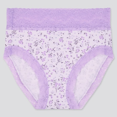 Women Mini Flower High-Rise Briefs, Light Purple, Medium