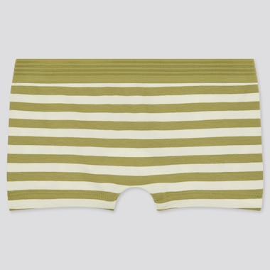 Women Striped Boy Shorts, Green, Medium