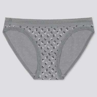 Women Leaf Printed Bikini, Gray, Medium