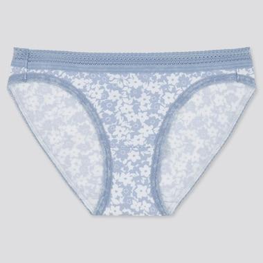 Women Flower Printed Bikini, Blue, Medium