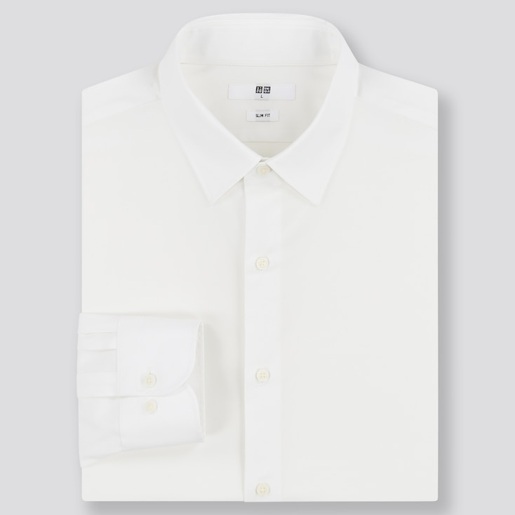 Men Easy Care Stretch Slim-Fit Long-Sleeve Shirt, White, Large