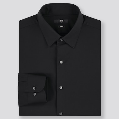 Men Easy Care Stretch Slim-Fit Long-Sleeve Shirt, Black, Medium