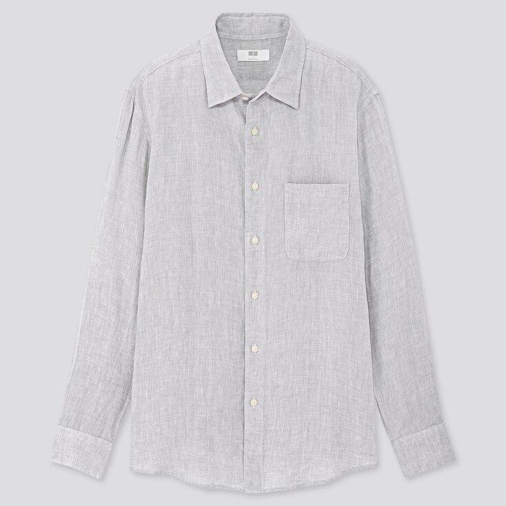 Men Premium Linen Long-Sleeve Shirt, Light Gray, Large