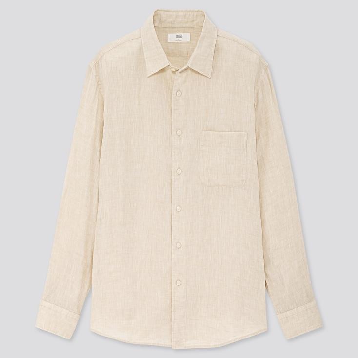 Men Premium Linen Long-Sleeve Shirt, Natural, Large