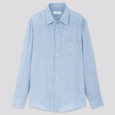 Men Premium Linen Long-Sleeve Shirt, Blue, Medium