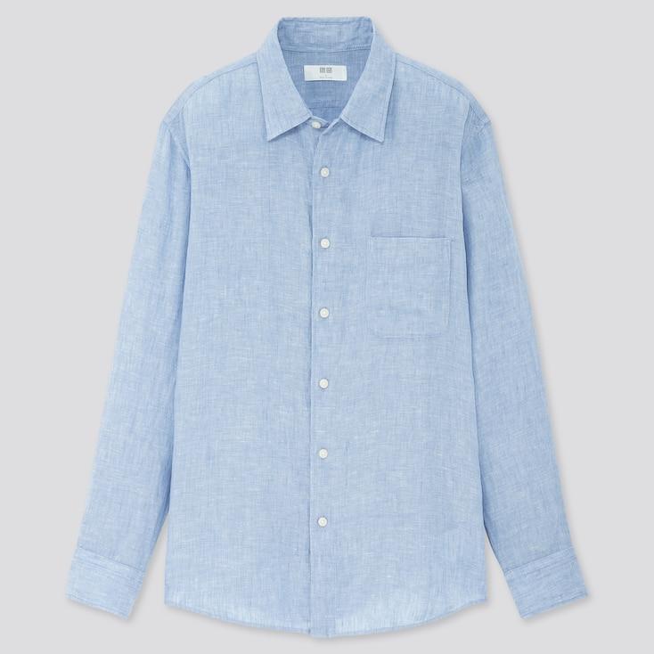 Men Premium Linen Long-Sleeve Shirt, Blue, Large