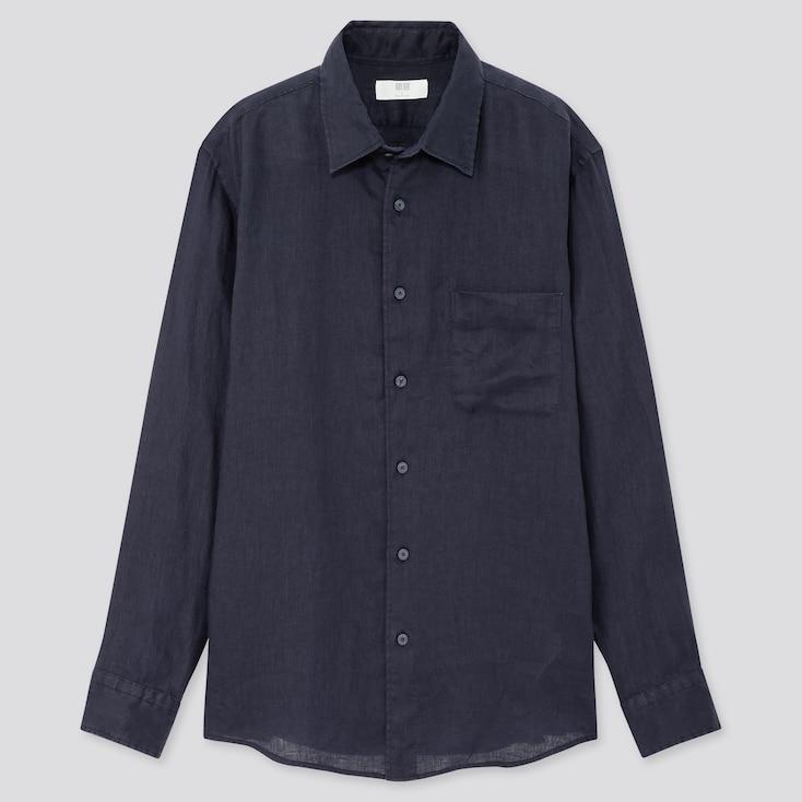 Men Premium Linen Long-Sleeve Shirt, Navy, Large