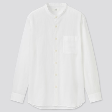 Linen Cotton Blend Shirt (Grandad Collar)