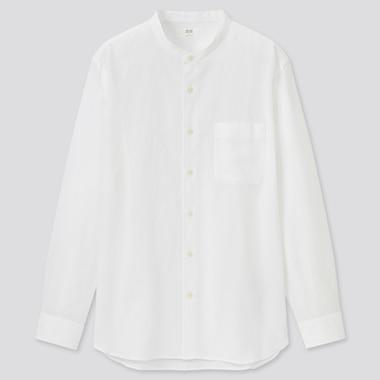 Men Linen Cotton Blend Shirt (Stand Collar)