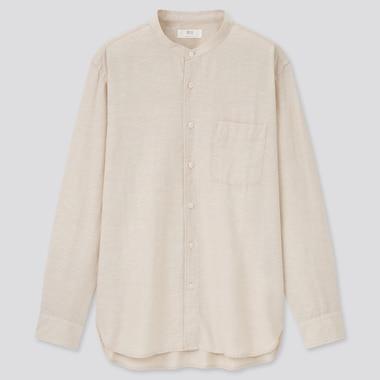 Linen Cotton Stand Collar Long-Sleeve Shirt, Beige, Medium