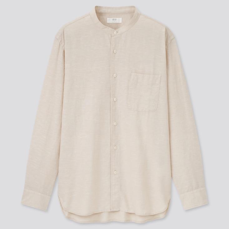 Linen Cotton Stand Collar Long-Sleeve Shirt, Beige, Large