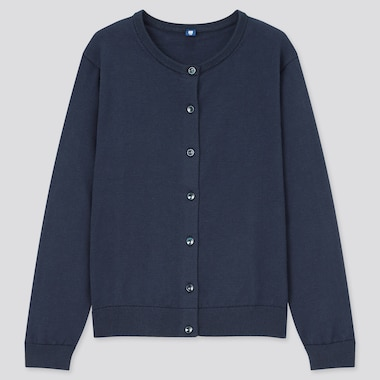 Girls Uv Protection Crew Neck Cardigan, Navy, Medium