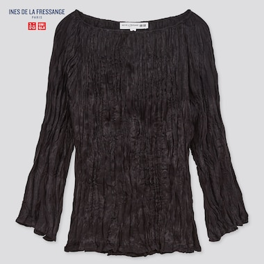 Women Twist Pleated 3/4-Sleeve Blouse (Ines De La Fressange), Black, Medium